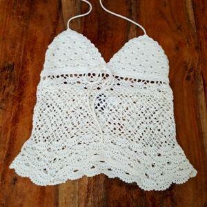 Boho Festival Off White Crochet Halter Crop Top